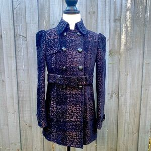 Juicy Couture black print trench coat jacket P/XS